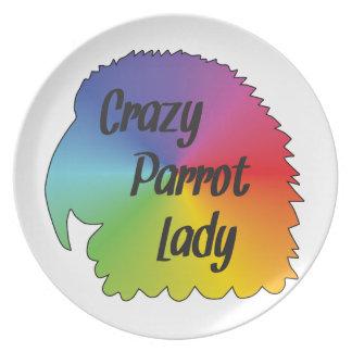 Crazy Parrot Lady Dinner Plates
