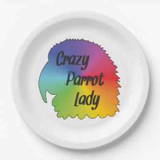 Crazy Parrot Lady Paper Plate