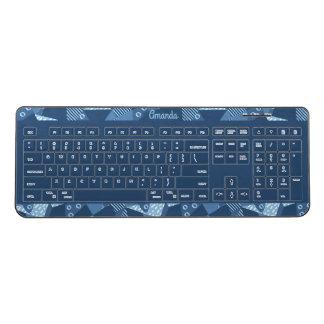Crazy patchwork design in blue tones wireless keyboard