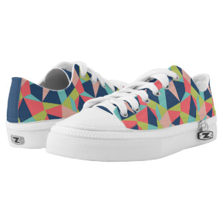 Crazy patchwork geometric shapes colorful printed shoes