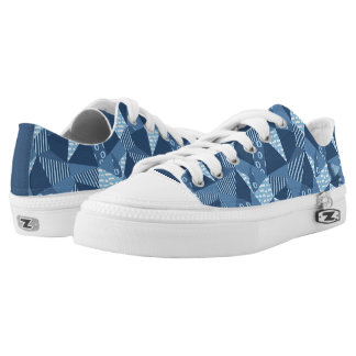 Crazy Patchwork geometric shapes in blue tones Low Tops