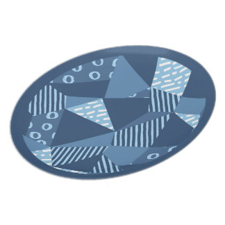 Crazy patchwork style geometric shapes dinner plates