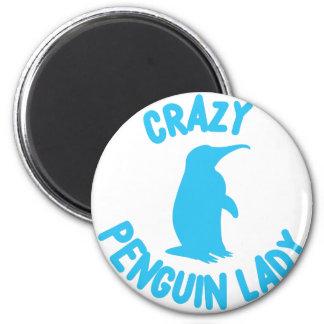 crazy penguin lady 6 cm round magnet