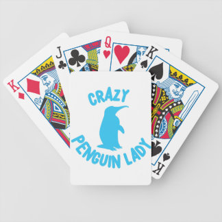 crazy penguin lady bicycle playing cards