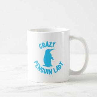crazy penguin lady coffee mug