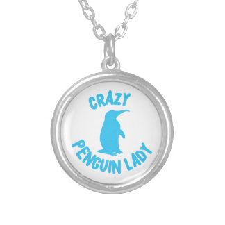 crazy penguin lady silver plated necklace
