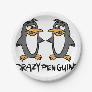 Crazy penguins paper plate