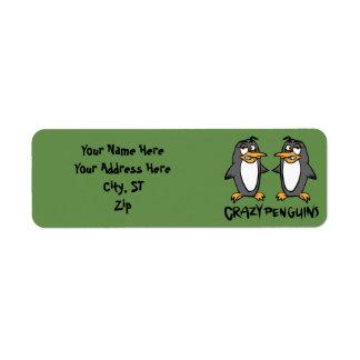 Crazy penguins return address label