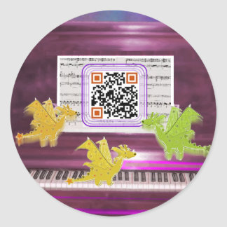 Crazy Piano Dragons say Have a Great Day Classic Round Sticker
