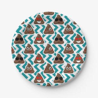 Crazy Poop Emojis Teal Patterned 7 Inch Paper Plate