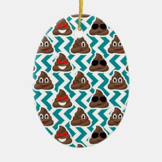 Crazy Poop Emojis Teal Patterned Ceramic Ornament