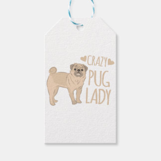 crazy pug lady gift tags
