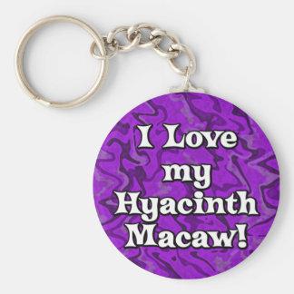 Crazy Purple I Love my Hyacinth Macaw Keychain