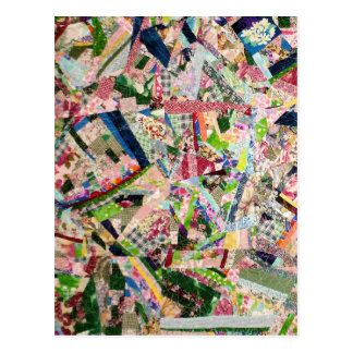 Crazy Quilt in Spring Colors Postcard