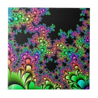 Crazy Rainbow Fractal Ceramic Tile
