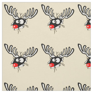 Crazy Red Nosed Reindeer Fabric
