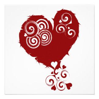 Crazy Red Swirly Heart Custom Announcement