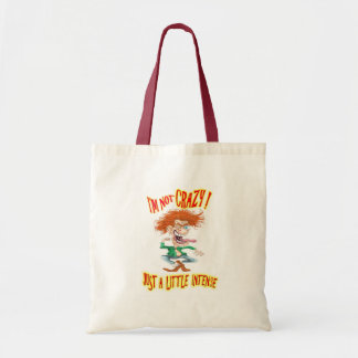 Crazy Redhead with funny saying Budget Tote Bag
