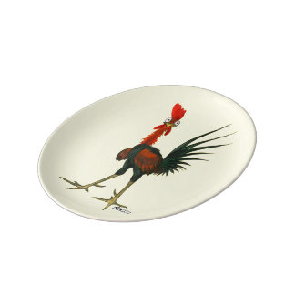 Crazy Rooster Plate