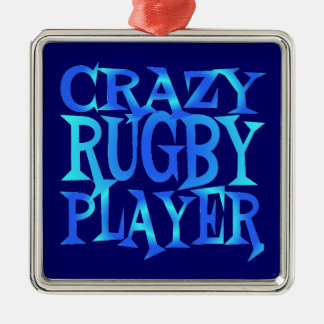 Crazy Rugby Player Silver-Colored Square Decoration