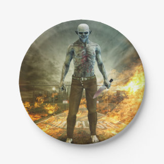 Crazy Scary Monster Apocalyptic Scene 7 Inch Paper Plate