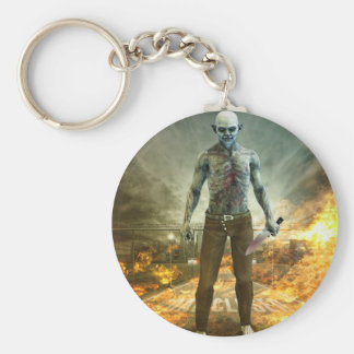 Crazy Scary Monster Apocalyptic Scene Basic Round Button Key Ring