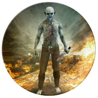 Crazy Scary Monster Apocalyptic Scene Porcelain Plates