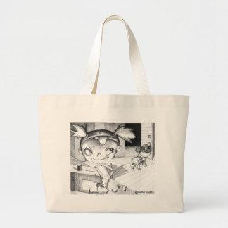 Crazy Sewing Girl Large Tote Bag