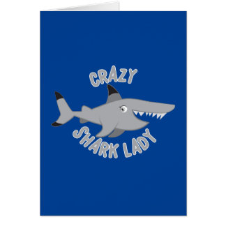 crazy shark lady circle card