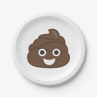 Crazy Silly Brown Poop Emoji Paper Plate