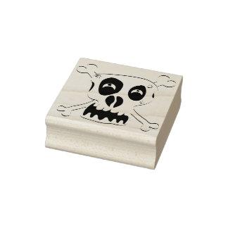 Crazy skull crossbones illustration art stamp