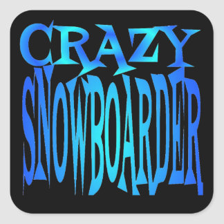 Crazy Snowboarder Square Sticker