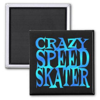 Crazy Speed Skater Square Magnet