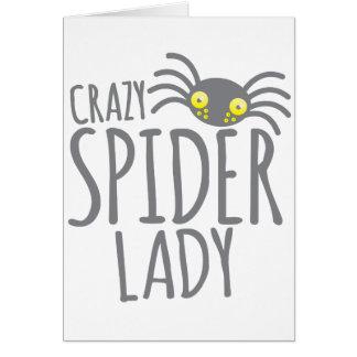 Crazy Spider Lady Card