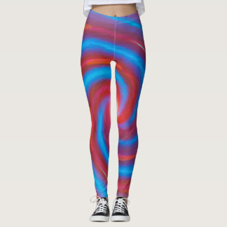 Crazy spiral red and blue leggings