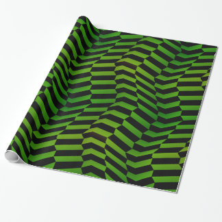 Crazy Steps in Green and Black Pattern Wrapping Paper