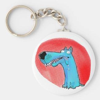 crazy stupid dog funny cartoon key ring