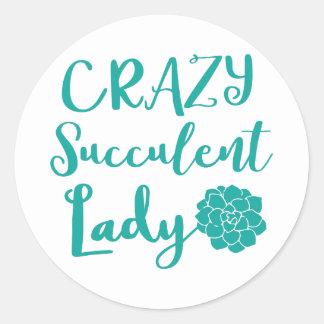crazy succulent lady classic round sticker