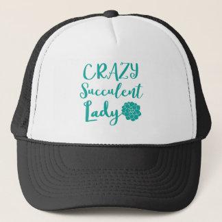 crazy succulent lady trucker hat