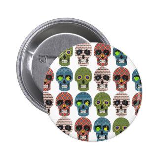 Crazy Sugar Skull Pattern 6 Cm Round Badge