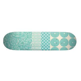 Crazy Teal Blue Patterns Circles Floral Plaid Wave 21.6 Cm Old School Skateboard Deck