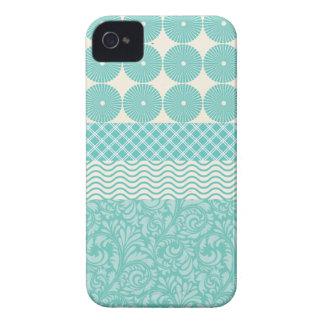 Crazy Teal Blue Patterns Circles Floral Plaid Wave iPhone 4 Case