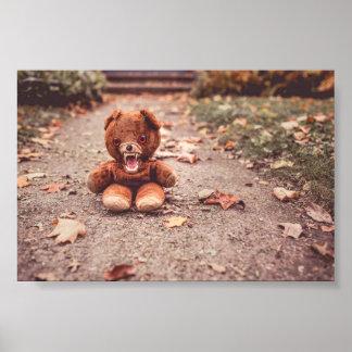 Crazy teddy bear poster