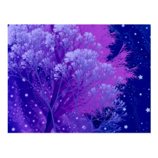 crazy trees blue. postcard