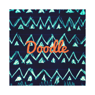 Crazy Tribal Doodle ZigZag Triangle Pattern Stretched Canvas Print