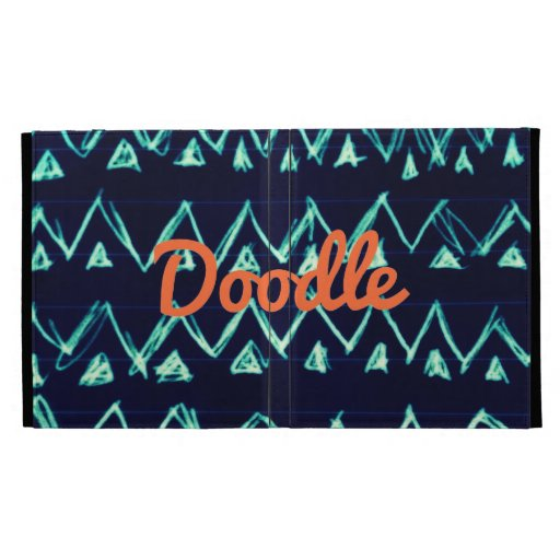 Crazy Tribal Doodle ZigZag Triangle Pattern iPad Folio Cover