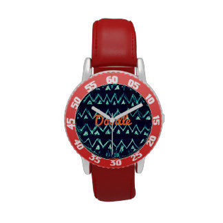 Crazy Tribal Doodle ZigZag Triangle Pattern Wristwatch