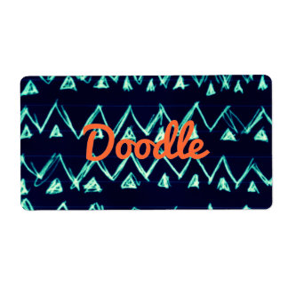 Crazy Tribal Doodle ZigZag Triangle Pattern Shipping Label