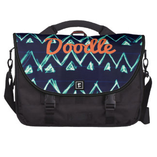 Crazy Tribal Doodle ZigZag Triangle Pattern Commuter Bag