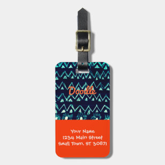 Crazy Tribal Doodle ZigZag Triangle Pattern Bag Tags